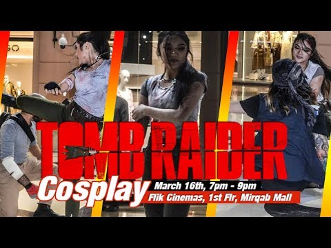 Tomb Raider Cosplay Action Performance - Flik Cinema - Mirqab Mall Doha, Qatar
