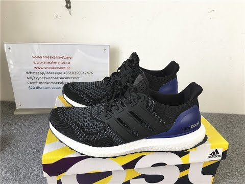 17d97e51a0b39 Adidas Ultra Boost Core Black Blue B27172 Real Boost from Sneakersnet.me