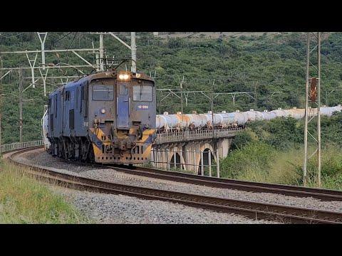 Spoornet class 18E locomotives just outside Ashburton station heading towards Durban.