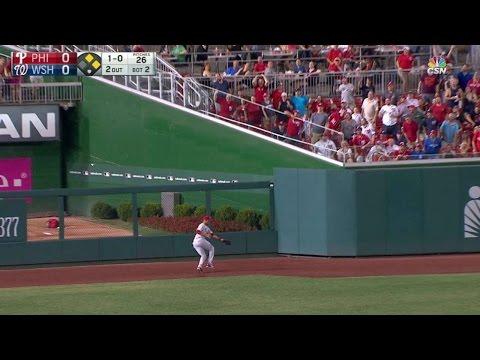 PHI@WSH: Scherzer just misses three-run homer in 2nd