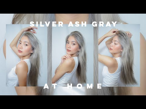 BLEACHING MY HAIR AND DYEING IT SILVER ASH/GRAY AT HOME 👩🏻🦳🤍 (AFFORDABLE) - YouTube