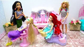 Barbie Rapunzel Ariel Pink Hair Salon, Hair Braiding Machine, Steam Hair Spray Princess Hair Cut