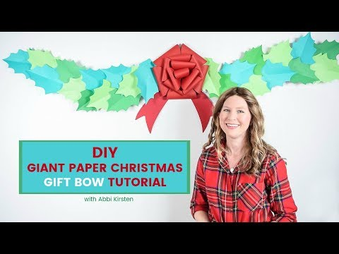 DIY Giant Paper Christmas Gift Bow Tutorial and Free Template