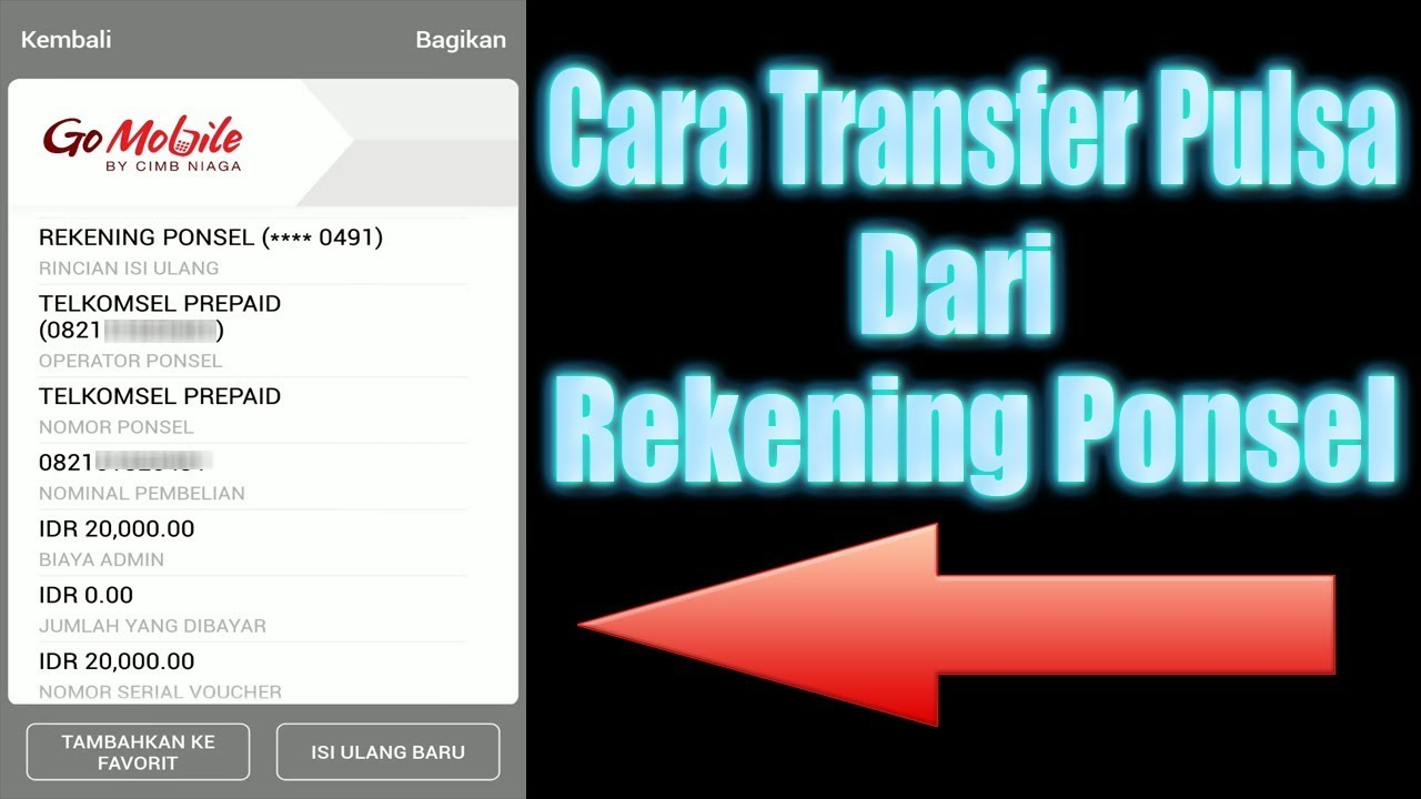 Cara Transfer Pulsa Dari Rekening Ponsel Go Mobile Cimb Niaga Youtube