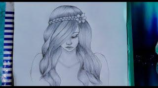 Simple Drawings Girl Hair 1