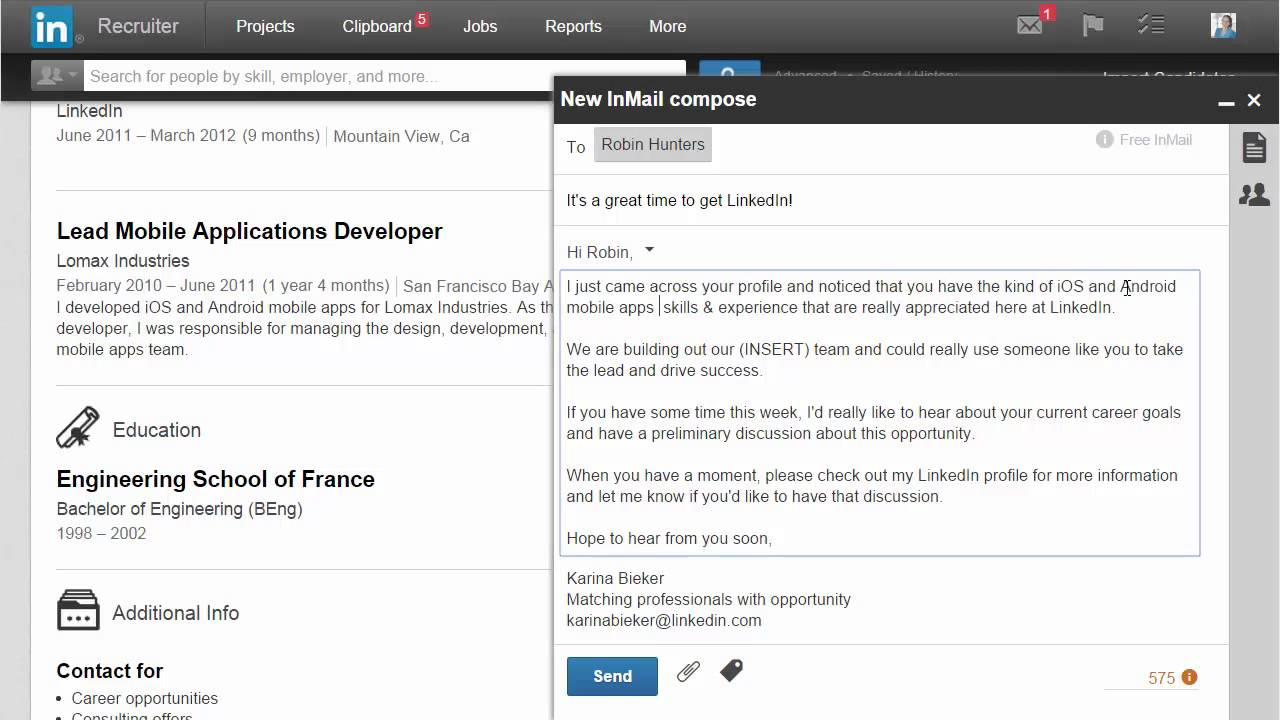 Meet the New InMail Compose Experience -- Product Enhancement 2015 ...