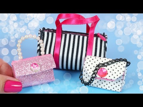 Miniature Doll BAGS  | DIY Barbie Hacks and Crafts
