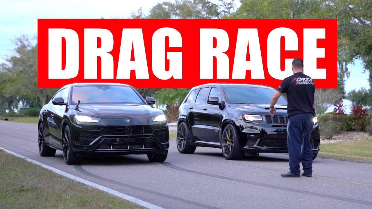 Jeep Trackhawk Vs Lamborghini Urus Drag Race Youtube