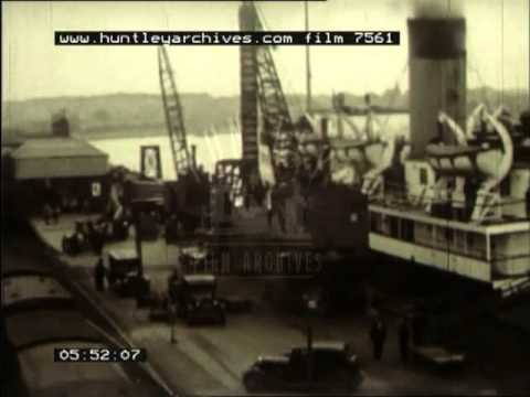 Film about a fleet of ferries crossing the Irish Sea, 1930's  (part 1 of 2) -- Film 7561