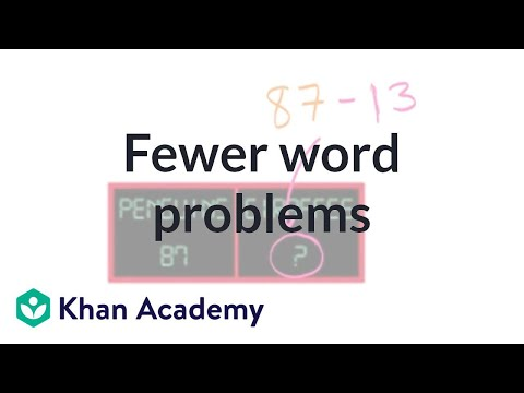 Fewer Word Problems | Addition And Subtraction Within 100 | Early Math | Khan Academy