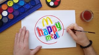 How to draw the McDonald's happy meal logo (Drawing famous logos)