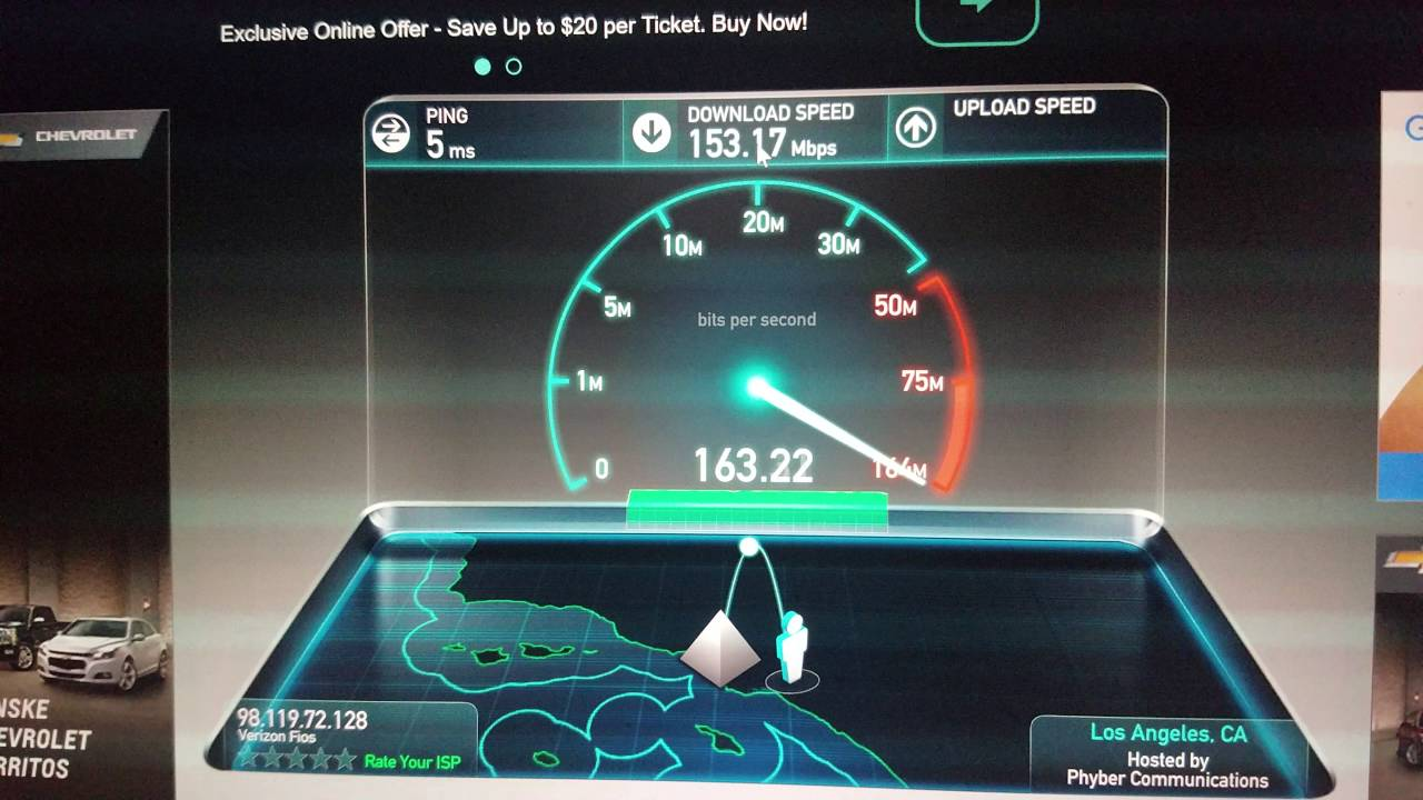 Frontier Speed Test >> Frontier Fios 150 150 Test With Verizon New Ac Wireless Router