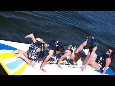 How To Set Up A Water Whoosh Inflatable Water Mat On A Boat Youtube