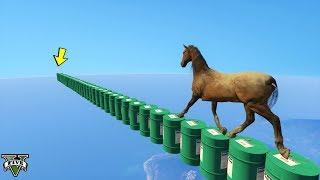 باركور حصان فوق براميل🐸GTA5 - Horse Parkour Over Drums