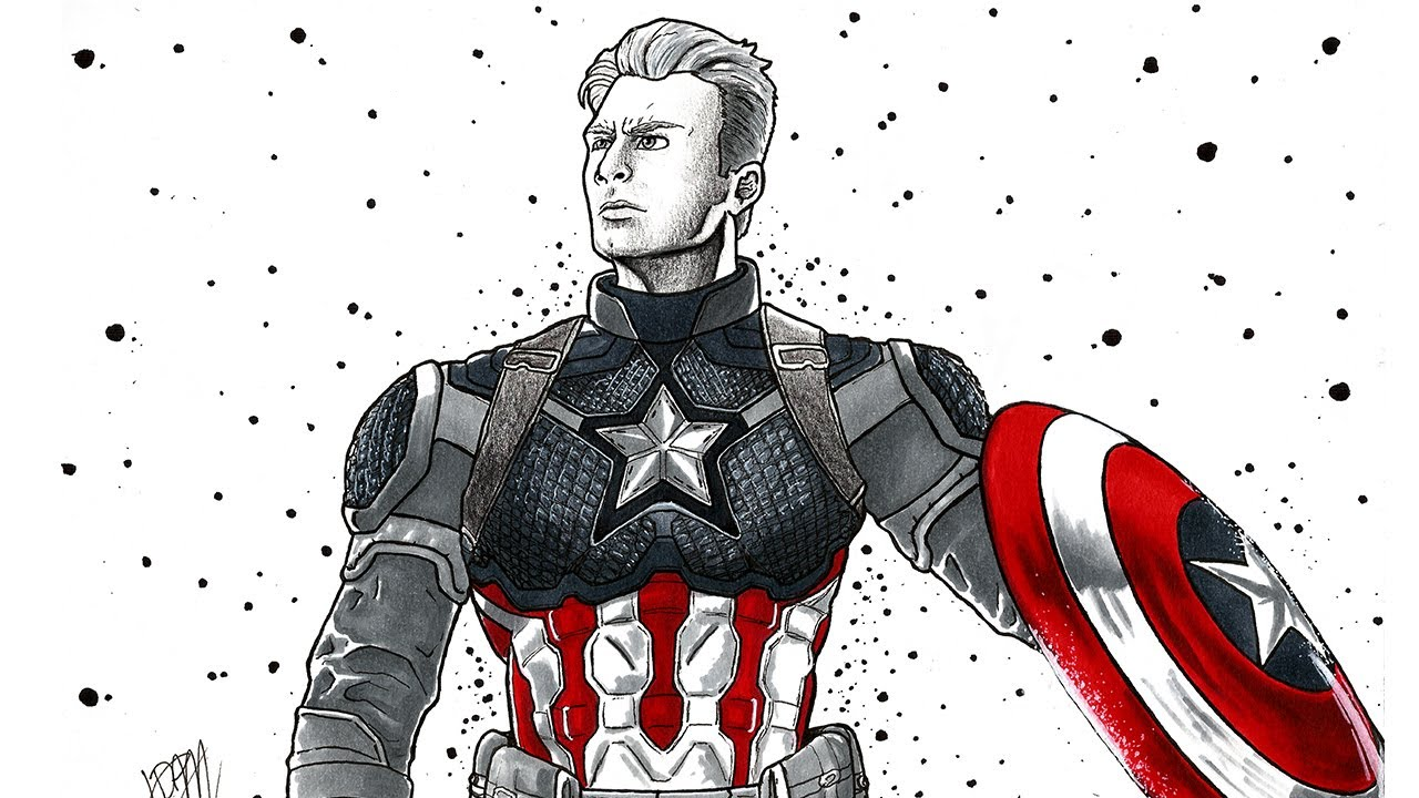 Desenho Do Capitão America Vingadores Ultimato Captain America Avengers Endgame Drawing Copics