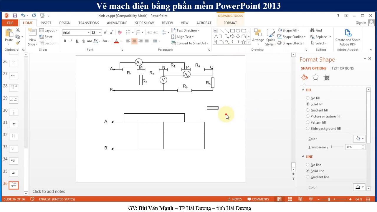 Vẽ mạch điện bằng PowerPoint 2013