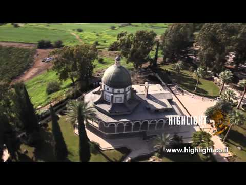 AN 006E Israel Aerial Footage: Aerial Video Of Roman Catholic Church In Mt. Beatitudes, Galilee