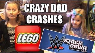 KIDS REACT TO CRAZY DAD CRASHING WWE STACKDOWN LEGO AIRPLANES