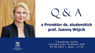 Q & A z Prorektor ds. studenckich prof. Joanną Wójcik
