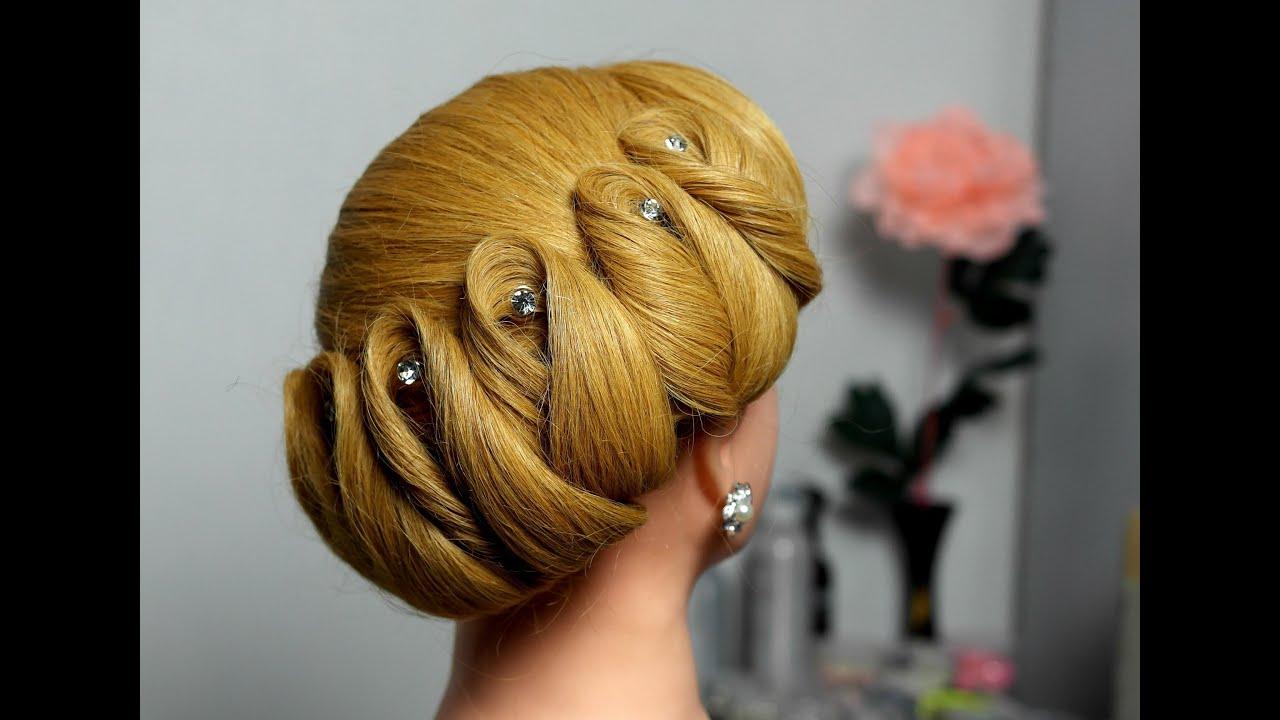 Hairstyle  for medium hair  Wedding updo YouTube