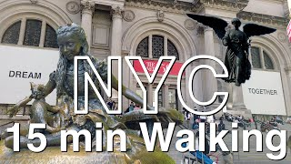 NYC 15 min Walking【Bethesda Terrace】to【Metropolitan Museum】2020 Tour#20 Central Park Travel Guide 4K