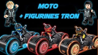 Moto Tron + mini figurine rinzler , sam et korra en brique chinoise