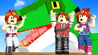ROBLOX-T-REX ESCAPE!!! In FAMILY (Dinosaur Hunter)