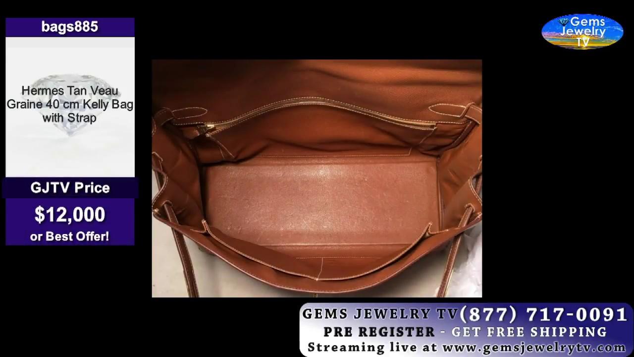 5485e1a61656 ... discount hermes tan veau graine 40 cm kelly bag with strap youtube  a33ba c7536