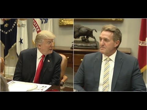 MUST WATCH: President Donald Trump plugs Roy Moore in front of Jeff Flake FACE at Meeting on Trade