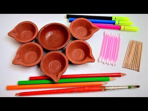 5 Easy Tricks For Diya Painting At Home | Diwali Decoration | Diya Decoration Ideas