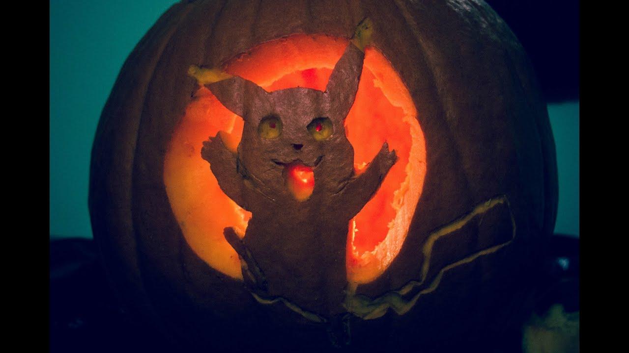 Halloween speed art pikachu pumpkin carving youtube