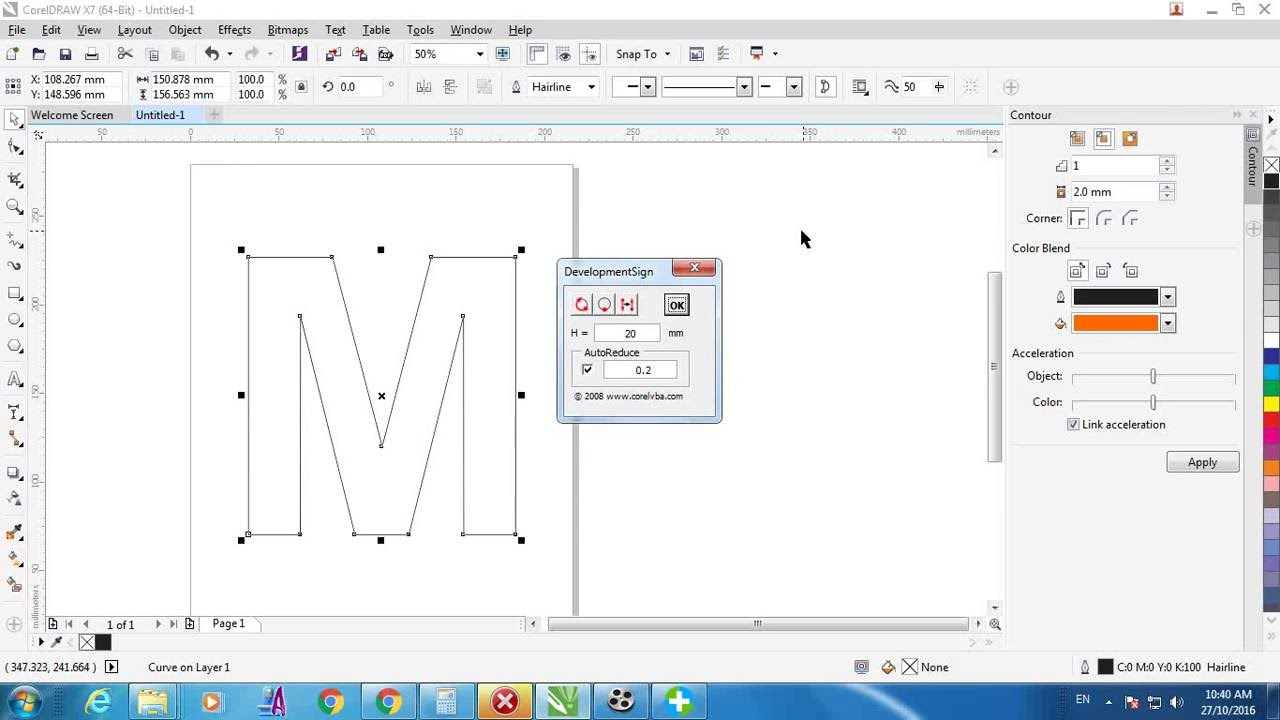 COREL DRAW TUTORIAL(Chanel letter with Macro Dimension )