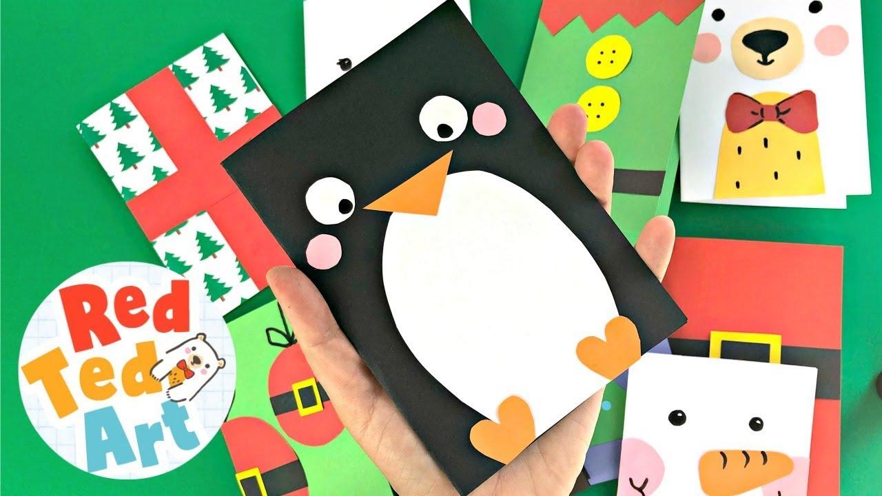 Super Simple Penguin Card Design Red Ted Art