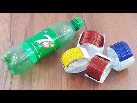 waste plastic bottle & old bangles reuse idea | best out of waste | plastic bottle crafts