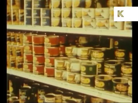 1950s US Supermarket Shopping, Color Footage
