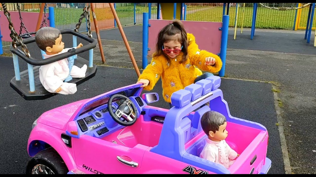 Ride On Pink Car Playground For Kids Youtube