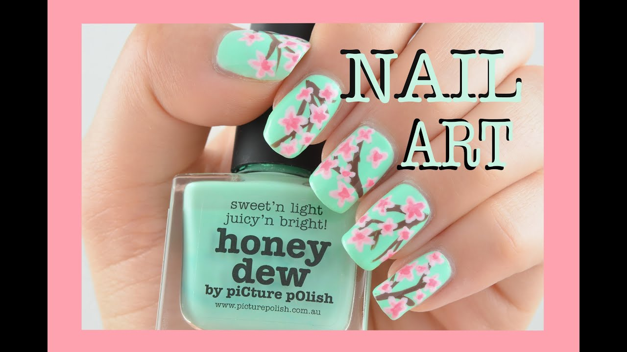 Nail art tutorial cherry blossom nails youtube prinsesfo Gallery