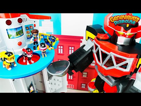 Color Learning Video for Kids Toy Paw Patrol Rescue Mission - Romeo's Megazord in Adventure Bay!