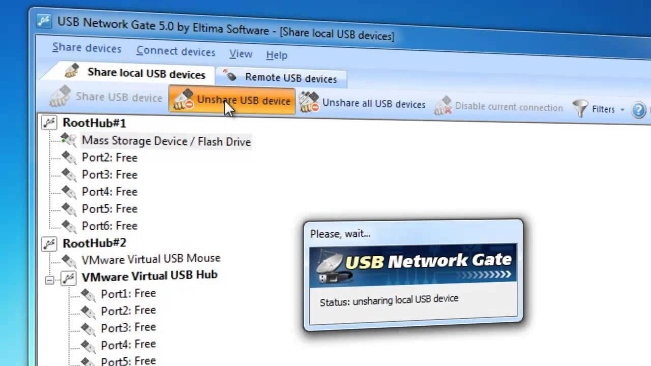 Share USB port over IP