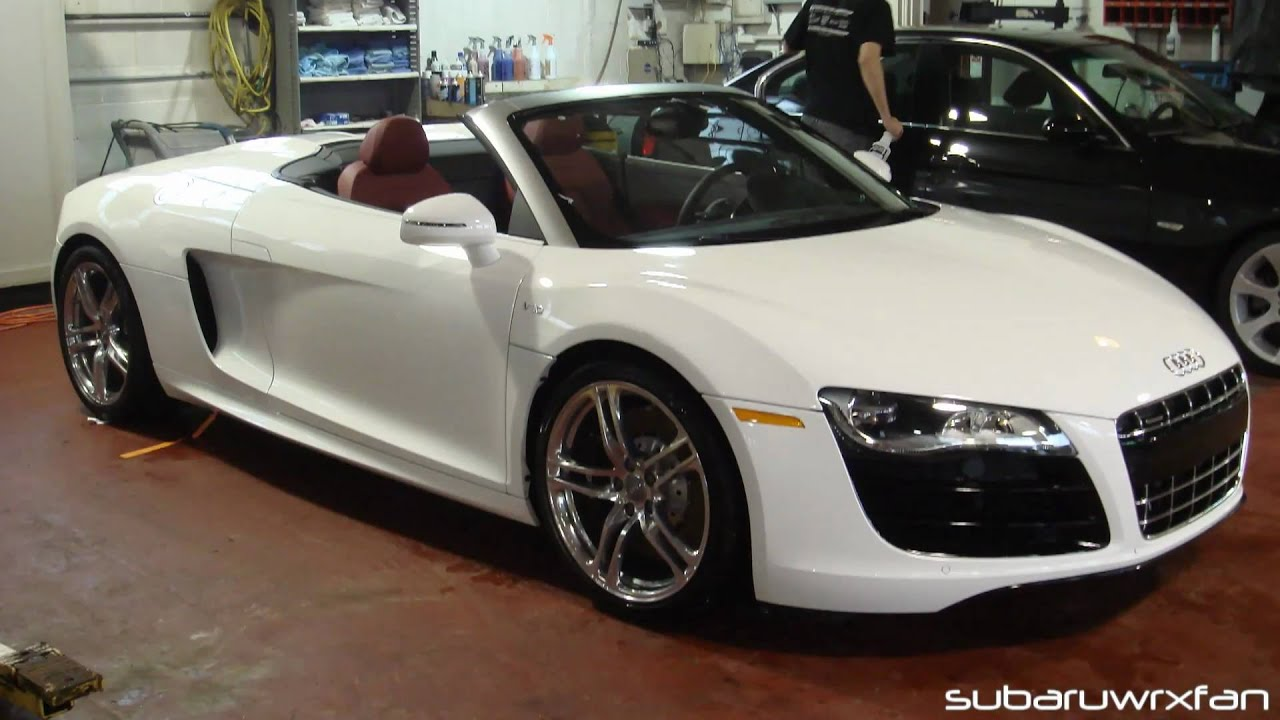 audi r8 v10 spyder start-up, power convertible action, and
