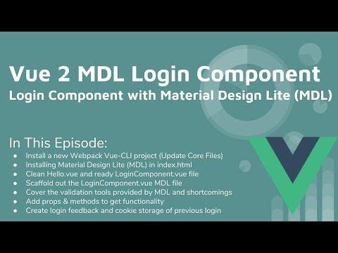 Vue 2 & Material Design Lite Login Component Tutorial
