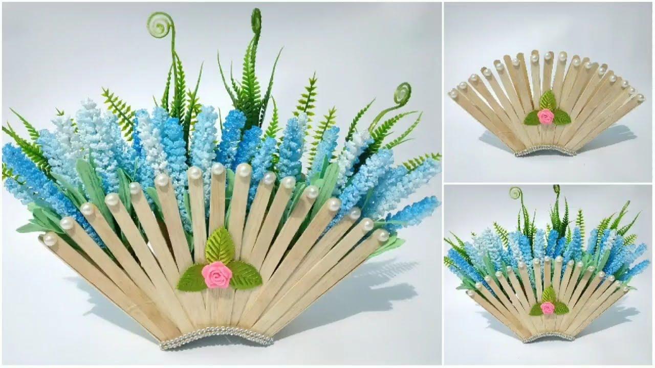 Ide Kreatif Dari Stik Es Krim Cara Membuat Vas Bunga Cantik Dari Stik Es Krim Youtube