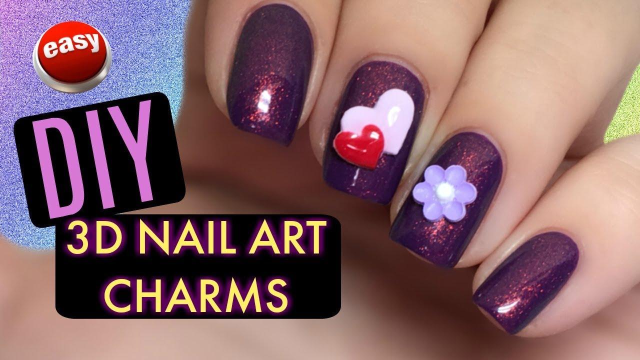 Easy Diy 3d Nail Art Charms Youtube