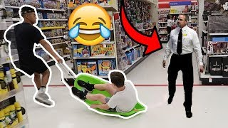 SLEDDING IN WALMART! *KICKED OUT*
