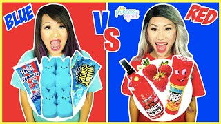 EATING ONLY ONE COLOR FOOD FOR 24 HOURS | Red VS Blue Food Challenge Mukbang