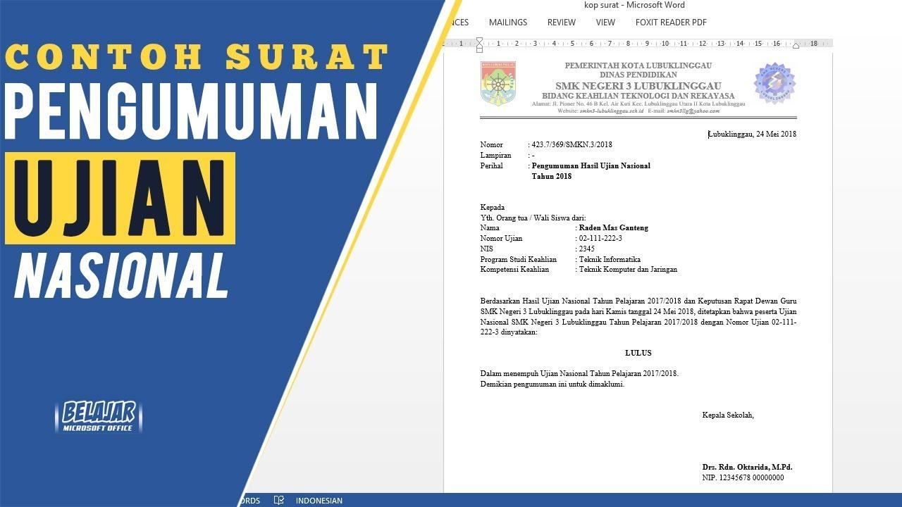 Contoh Surat Pengumuman Hasil Ujian Nasional 2018 Untuk Sd Smp Sma Smk Youtube
