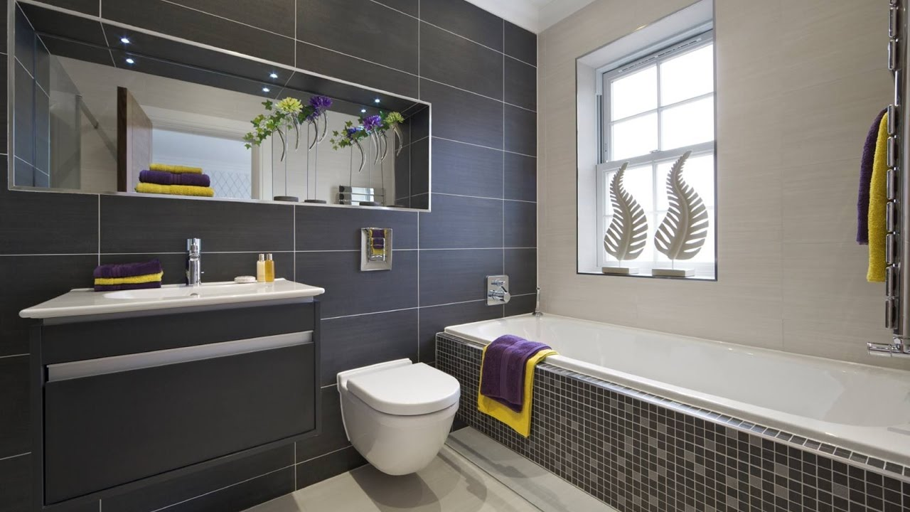 Grey Bathroom Wall and Floor Tiles Ideas - YouTube