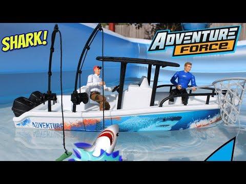 Shark Week Adventure Force Deep Sea Fishing Boat & Truck Toy Kids Video