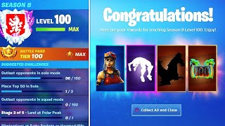 Unlocking LEVEL 100 Season 8 SECRET REWARDS! WORLDS FIRST Level 100 Season 8! (Fortnite LIVE)