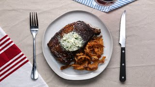 Rib Eye Steak With Blue Cheese Compound Butter And Crispy Onion Strings • Tasty